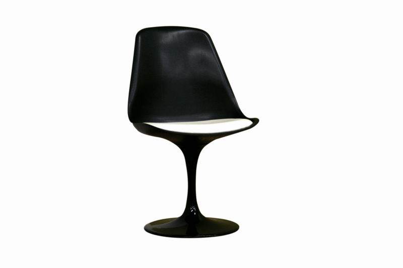 Black Molded Plastic Tulip Side Chair